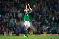 Northern Ireland's Jonny Evans applauds the fans     <br /> <br /> <br /> Photographer Craig Mercer/CameraSport<br /> <br /> FIFA World Cup Qualifying - European Region - Group C - Northern Ireland v Czech Republic - Monday 4th September 2017 - Windsor Park - Belfast<br /> <br /> World Copyright &copy; 2017 CameraSport. All rights reserved. 43 Linden Ave. Countesthorpe. Leicester. England. LE8 5PG - Tel: +44 (0) 116 277 4147 - admin@camerasport.com - www.camerasport.com