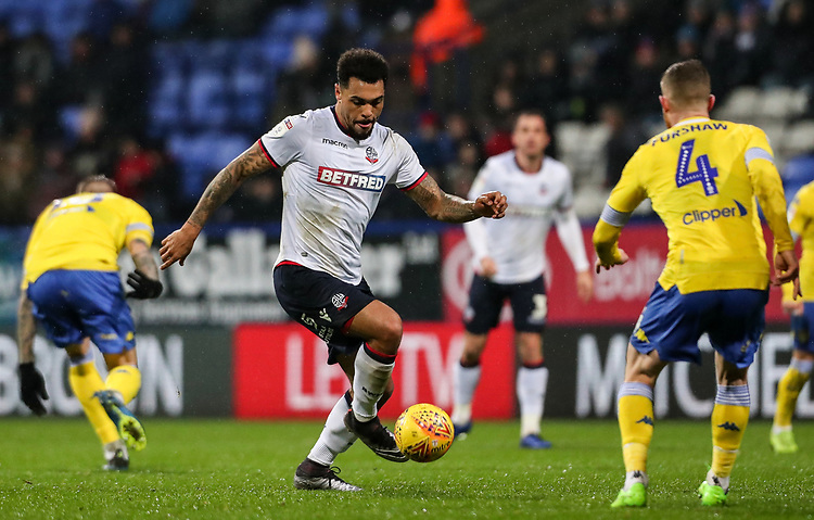 Bolton Wanderers' Josh Magennis breaks<br /> <br /> Photographer Andrew Kearns/CameraSport<br /> <br /> The EFL Sky Bet Championship - Bolton Wanderers v Leeds United - Saturday 15th December 2018 - University of Bolton Stadium - Bolton<br /> <br /> World Copyright © 2018 CameraSport. All rights reserved. 43 Linden Ave. Countesthorpe. Leicester. England. LE8 5PG - Tel: +44 (0) 116 277 4147 - admin@camerasport.com - www.camerasport.com