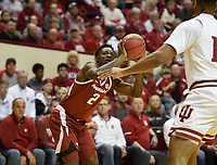NWA Democrat-Gazette/CHARLIE KAIJO Arkansas Razorbacks forward Adrio Bailey (2) shoots during the first half of the NCAA National Invitation Tournament, Saturday, March 23, 2019 at the Simon Skjodt Assembly Hall at the University of Indiana in Bloomington, Ind. The Arkansas Razorbacks fell to the Indiana Hoosiers 63-60.