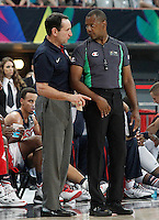 USA's coach Mike Krzyzewski have words with the referee during 2014 FIBA Basketball World Cup Round of 16 match.September 6,2014.(ALTERPHOTOS/Acero)