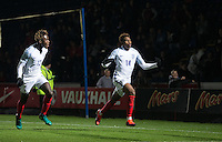 Dujon Sterling (Chelsea) of England U19 celebrates his winning goal with Easah Suliman (Cheltenham Town on loan from Aston Villa) of England U19 during the International friendly match between England U19 and Bulgaria U19 at Adams Park, High Wycombe, England on 10 October 2016. Photo by Andy Rowland.