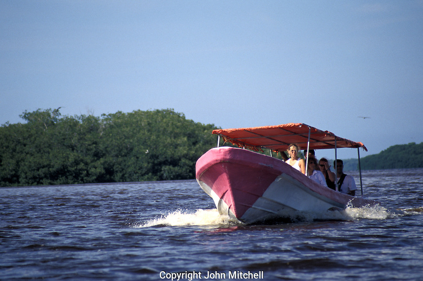 Tourist launch in the Ria Celustun, Celestun Biosphere Reserve, Yucatan, Mexico