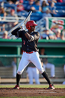 Batavia Muckdogs shortstop Demetrius Sims (3) at bat during a game against the Auburn Doubledays on June 28, 2018 at Dwyer Stadium in Batavia, New York.  Auburn defeated Batavia 14-9.  (Mike Janes/Four Seam Images)