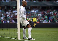 MEXICO CITY, MEXICO - AUGUST 15, 2012:  Tim Howard (1) of the USA MNT directs his defense during an international friendly match against Mexico at Azteca Stadium, in Mexico City, Mexico on August 15. USA won 1-0.