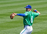 HARTFORD,  CT-071818JS21--Hartford's Ryan Metzler (8) warms up prior to their game against Reading on Wednesday afternoon at Dunkin Donuts Park in Hartford.<br /> Jim Shannon Republican American