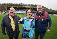 Sam Saunders of Wycombe Wanderers poses for a photo with his shirt sponsors ahead of the Sky Bet League 2 match between Wycombe Wanderers and Crawley Town at Adams Park, High Wycombe, England on 25 February 2017. Photo by Andy Rowland / PRiME Media Images.