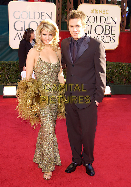 DANYA DEVON & MARK McGRATH.62nd Annual Golden Globe Awards, Beverly Hilton Hotel,                             .Beverly Hills, California, USA, January 16th 2005..full length gold green dress wrap shawl.Ref: PL.www.capitalpictures.com.sales@capitalpictures.com.©Capital Pictures.