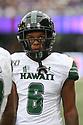 SEATTLE, WA - SEPTEMBER 14: Hawaii's Cedric Byrd II during the college football game between the Washington Huskies and the Hawaii Rainbow Warriors on September 14, 2019 at Husky Stadium in Seattle, WA.