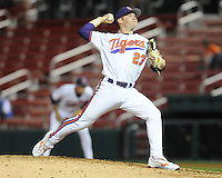 Photo of the Clemson Tigers in a game against the Presbyterian College Blue Hose on Wednesday, March 16, 2011, at Fluor Field in Greenville, S.C.  Photo by Tom Priddy / Four Seam Images