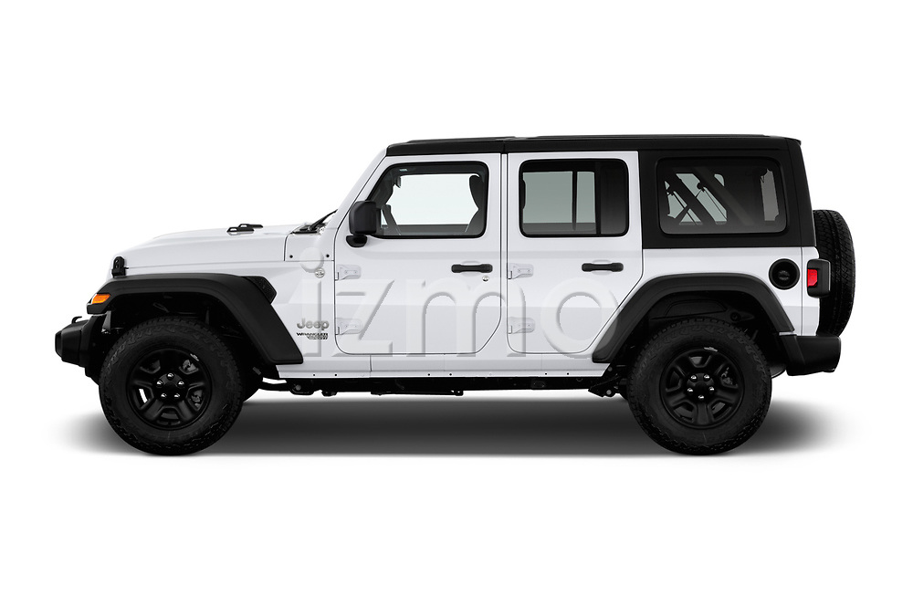Car driver side profile view of a 2020 Jeep Wrangler Unlimited Sport S 5 Door SUV