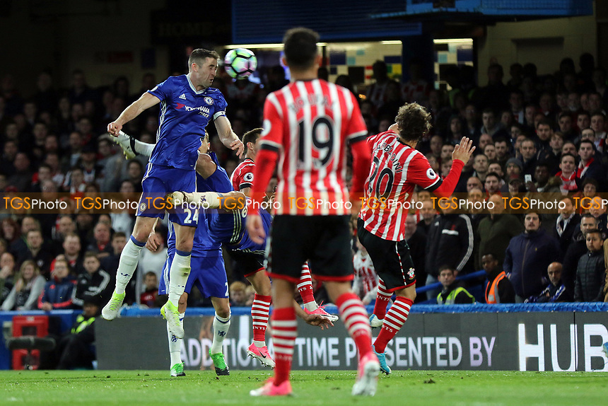 Gary Cahill scores Chelsea's second goal during Chelsea vs Southampton, Premier League Football at Stamford Bridge on 25th April 2017