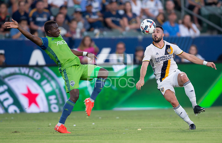 Carson, CA - Saturday July 29, 2017: Nouhou Tolo, Romain Alessandrini during a Major League Soccer (MLS) game between the Los Angeles Galaxy and the Seattle Sounders FC at StubHub Center.