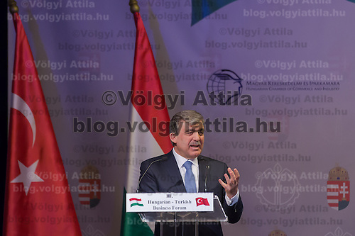 Abdullah Gul president of Turkey talks during a business conference in Budapest, Hungary on February 17, 2014. ATTILA VOLGYI