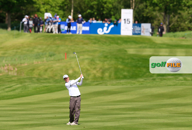 Gavin Moynihan (IRL) plays his 2nd shot on the 15th hole during Thursday's Round 1 of the 2016 Dubai Duty Free Irish Open hosted by Rory Foundation held at the K Club, Straffan, Co.Kildare, Ireland. 19th May 2016.<br /> Picture: Eoin Clarke | Golffile<br /> <br /> <br /> All photos usage must carry mandatory copyright credit (&copy; Golffile | Eoin Clarke)