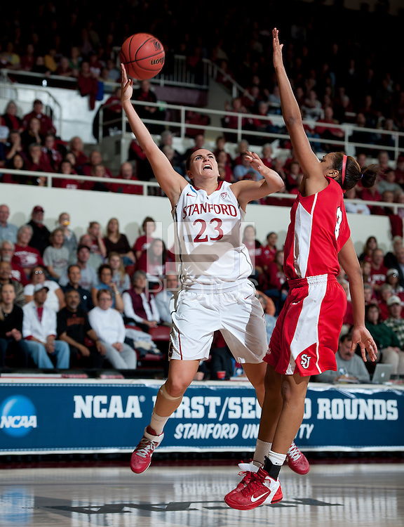 STANFORD, CA - March 21, 2011: Stanford Cardinal's Jeanette Pohlen during Stanford's 75-51 win over St. John's during the second round of the NCAA tournament at Maples Pavilion in Stanford, California.