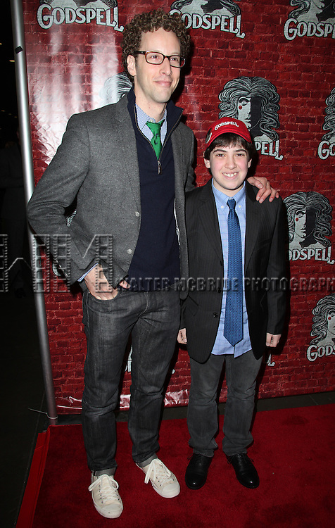 Adam Riegler & guest.arriving for the Opening Night Performance of the Broadway Revival of 'Godspell' at Circle in the Square Theatre in New York City.