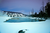 USA, Wyoming, Yellowstone National Park, the Upper Terraces at Mammoth Hot Springs during the Winter