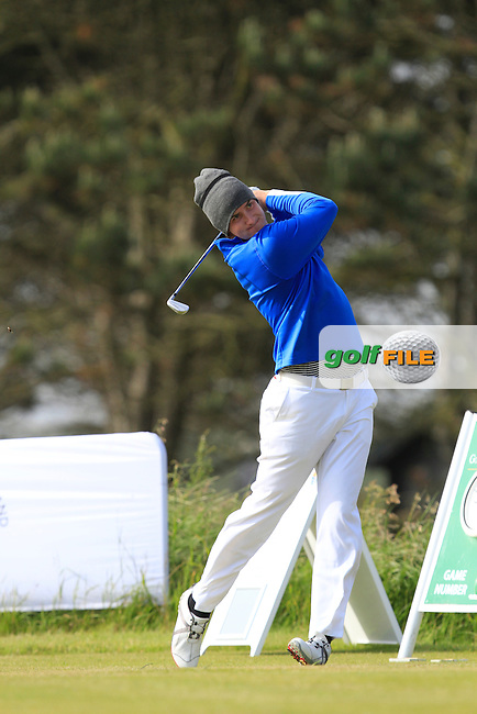 John Hickey (Cork) on the 1st tee during Round 2 of the Irish Amateur Close Championship at Seapoint Golf Club on Sunday 8th June 2014.<br /> Picture:  Thos Caffrey / www.golffile.ie