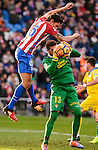Atletico de Madrid Stefan Savic and UD Las Palmas Javi Varas during La Liga match between Atletico de Madrid and UD Las Palmas at Vicente Calderon Stadium in Madrid, Spain. December 17, 2016. (ALTERPHOTOS/BorjaB.Hojas)