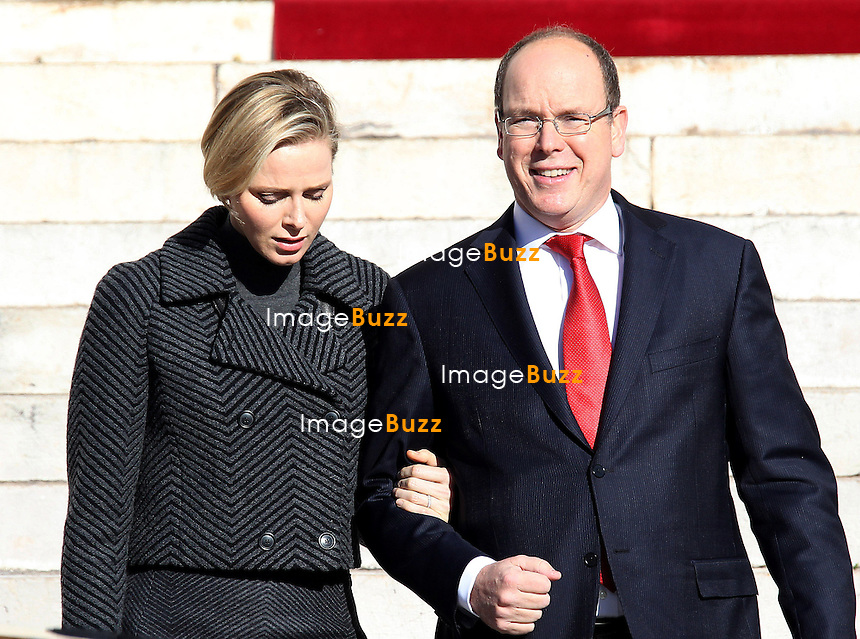 Prince Albert II of Monaco and Princess Charlene of Monaco attend the Sainte Devote Mass at Monaco Cathedral.<br /> Monaco, January 27, 2014.