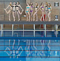 Russia Synchronized Swimming Olympic Team 2012..Very rarely the athletes can dismiss their one-piece suite for training or their gilded ones for competition. here is a rare Bikini appearance...from Left to Right: SHISHKINA Alla; KOROBOVA Daria;  GROMOVA Maria; DAVYDOVA Anastasia; ISCHENKO Natalia; ROMASHINA Svetlana; PATSKEVICH Alexandra; TIMANINA Angelica; KHASYANOVA Elvira...Russian synchronized Swimming Olympic Team: indisputably the strongest in the World..Only nine of these twelve can compete at the Olympics, due to number restriction imposed by I.O.C...Russian Team palmares: ..Olympic Games: (synchro at the Olympics since 1984)..Team : Gold: 2000, 2004, 2008 ..World Championships..Team: Gold 1999,2001,2003,2005,2007,2009,2011..European Championships: ..Team:Gold; 1991,1993,1995,1997,1997,1999,2000,2002,2004,2006,2010..World Cup: ..Team: Gold 2002, 2006,..Photo G.Scala/Deepbluemedia.eu..