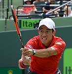 Kei Nishikori (JPN) battles against Fernando Verdasco (ESP) in 3 sets