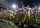 Sept. 14, 2013; The Irish celebrate their 31-24 win at Purdue.<br /> <br /> Photo by Matt Cashore