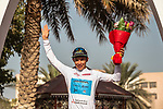 Miguel Angel Lopez Moreno (COL) Astana Pro Team takes over the White Jersey at the end of Stage 4 of the 2018 Tour of Oman running 117.5km from Yiti (Al Sifah) to Ministry of Tourism. 16th February 2018.<br /> Picture: ASO/Muscat Municipality/Kare Dehlie Thorstad | Cyclefile<br /> <br /> <br /> All photos usage must carry mandatory copyright credit (&copy; Cyclefile | ASO/Muscat Municipality/Kare Dehlie Thorstad)