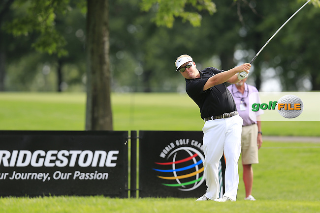 Carl Pettersson (SWE) tees off the 9th tee during Thursday's Round 1 of the 2013 Bridgestone Invitational WGC tournament held at the Firestone Country Club, Akron, Ohio. 1st August 2013.<br /> Picture: Eoin Clarke www.golffile.ie