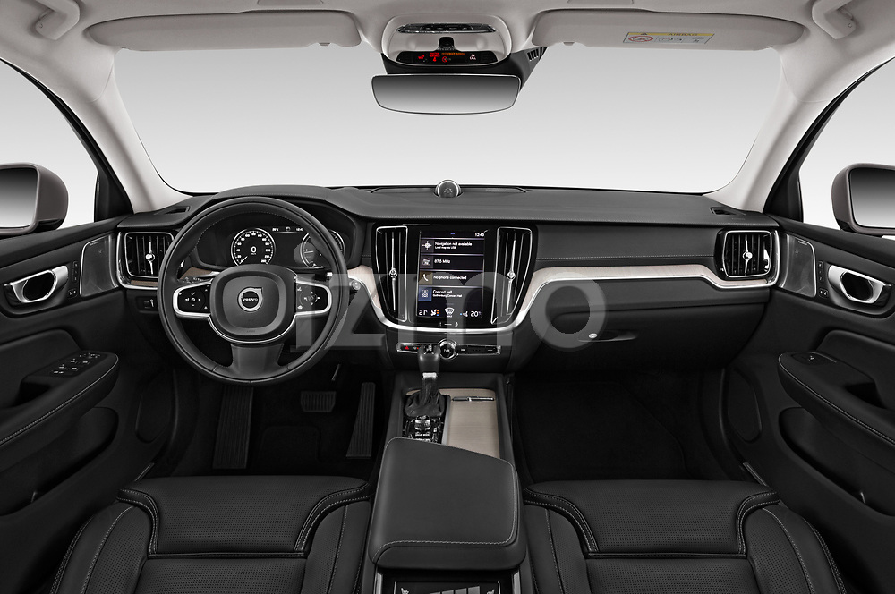 Stock photo of straight dashboard view of a 2019 Volvo V60 Inscription 5 Door Wagon