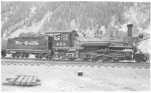Engineer's-side view of D&amp;RGW #463 switching at Silverton.<br /> D&amp;RGW  Silverton, CO  8/4/1947