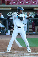 Wisconsin Timber Rattlers outfielder Monte Harrison (3) at bat during a Midwest League game against the Great Lakes Loons on April 26th, 2016 at Fox Cities Stadium in Appleton, Wisconsin.  Wisconsin defeated Great Lakes 4-3. (Brad Krause/Four Seam Images)