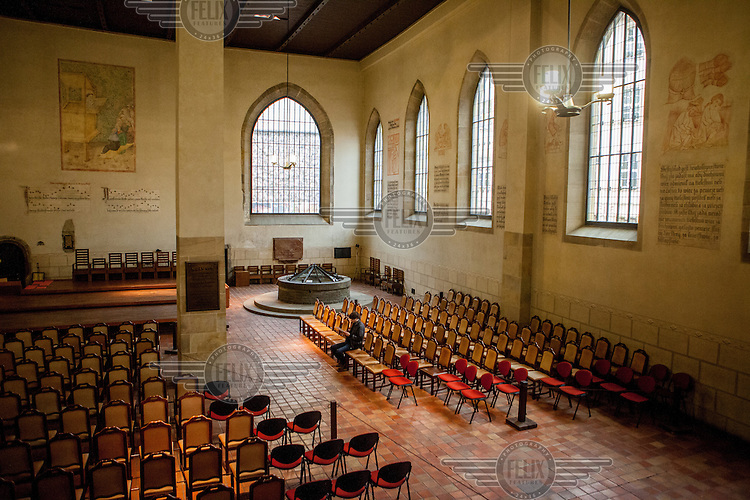 A view of the interior of the Bethlehem Chapel in Prague. Jan Hus who preached here from 1402 until 1412. <br /> Jan Hus (or John Huss, 1369 - 1415) was a Czech priest, philosopher and one of the first church reformers. Hus attacked moral failings among the clergy and promoted some of the teachings of John Wycliffe (1331 - 1384), an English reformere who had been burned at the stake in 1384. Hus was excommunicated for his views in 1410 and burned at the stake as a heretic in Konstanz on 6 July 1415. <br /> The chapel remained a centre for the Protestant Church after the Hussite Wars, which followed Hus' martyrdom, ended. The chapel was confiscated from its protestant community and bought by the Jesuit order in 1661.