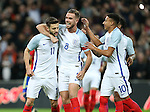 England's Adam Lallana celebrates scoring his sides opening goal during the friendly match at Wembley Stadium, London. Picture date November 15th, 2016 Pic David Klein/Sportimage