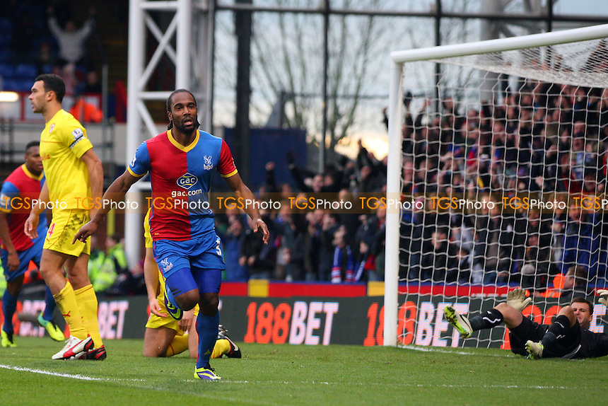 Cameron Jerome of Crystal Palace celebrates scoring the opening goal -  Crystal Palace vs Cardiff City, Barclays Premier League at Selhurst Park, Crystal Palace - 07/12/13 - MANDATORY CREDIT: Dave Simpson/TGSPHOTO - Self billing applies where appropriate - 0845 094 6026 - contact@tgsphoto.co.uk - NO UNPAID USE