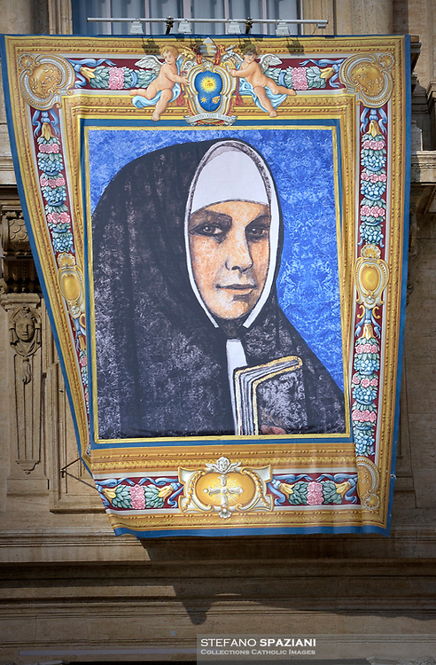 Portraits of  Katharina Kasper. Pope Francis presides over a canonization ceremony in St Peter's Square at the Vatican, on October 14, 2018. Pope Francis canonizes two of the most important and figures of the 20th-century Catholic Church, declaring Pope Paul VI and the martyred Salvadoran Archbishop Oscar Romero.