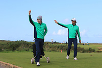 Mark Power from Ireland and Neil Manchip (National Coach) wave to Caolan Rafferty of Ireland after a great shot into the pin during Round 1 Singles of the Men's Home Internationals 2018 at Conwy Golf Club, Conwy, Wales on Wednesday 12th September 2018.<br /> Picture: Thos Caffrey / Golffile<br /> <br /> All photo usage must carry mandatory copyright credit (© Golffile | Thos Caffrey)