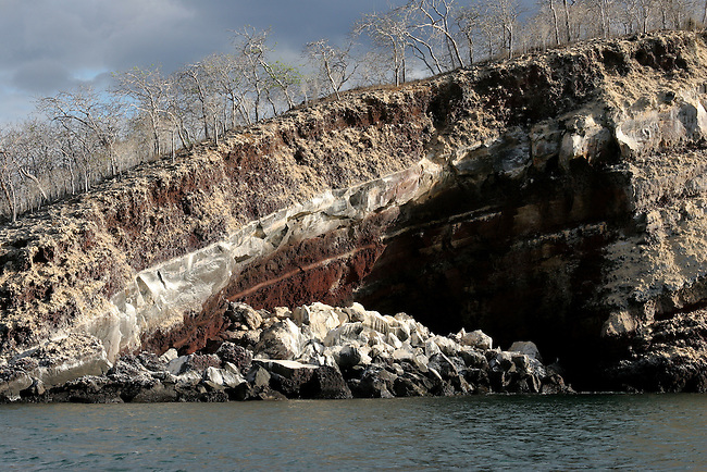 Clearly visible volcanic layers exposed on a small island near Isabela. Galapagos Island