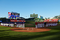 General view during the national anthem before the Under Armour All-American Game presented by Baseball Factory on July 29, 2017 at Wrigley Field in Chicago, Illinois.  (Mike Janes/Four Seam Images)