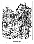 "Earning his Keep. ""If a German can work on my land, why can't he repair my bombed house?"" (John Bull ponders a German prisoner of war working on a farm)"