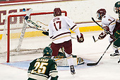 Austin Cangelosi (BC - 9) scores. - The Boston College Eagles defeated the University of Vermont Catamounts 7-4 on Saturday, March 11, 2017, at Kelley Rink to sweep their Hockey East quarterfinal series.The Boston College Eagles defeated the University of Vermont Catamounts 7-4 on Saturday, March 11, 2017, at Kelley Rink to sweep their Hockey East quarterfinal series.