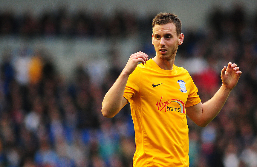 Preston North End's Marnick Vermijl in action during todays match  <br /> <br /> Photographer kevin Barnes/CameraSport<br /> <br /> Football - The Football League Sky Bet Championship - Brighton and Hove Albion v Preston North End - Saturday 24th October 2015 - American Express Community Stadium - Brighton <br /> <br /> &copy; CameraSport - 43 Linden Ave. Countesthorpe. Leicester. England. LE8 5PG - Tel: +44 (0) 116 277 4147 - admin@camerasport.com - www.camerasport.com