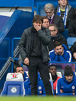 Chelsea Manager Antonio Conte covers his face during the Premier League match between Chelsea and Tottenham Hotspur at Stamford Bridge, London, England on 1 April 2018. Photo by Andy Rowland.