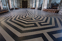 The Labyrinth, course of initiation for believers, nave, Amiens Cathedral, 13th century, Amiens, Somme, Picardie, France. Picture by Manuel Cohen