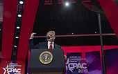 U.S. President Donald Trump speaks during CPAC 2019 on March 02, 2019 in Washington, DC. The American Conservative Union hosts the annual Conservative Political Action Conference to discuss conservative agenda. <br /> Credit: Tasos Katopodis / Pool via CNP
