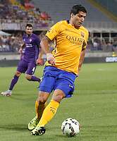 Calcio: amichevole Fiorentina vs Barcellona. Firenze, stadio Artemio Franchi, 2 agosto 2015.<br /> FC Barcelona's Luis Suarez in action during the friendly match between Fiorentina and FC Barcelona at Florence's Artemio Franchi stadium, 2 August 2015.<br /> UPDATE IMAGES PRESS/Riccardo De Luca
