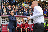 Arsenal manager Unai Emery is greeted by Burnley manager Sean Dyche before the match<br /> <br /> Photographer Alex Dodd/CameraSport<br /> <br /> The Premier League - Burnley v Arsenal - Sunday 12th May 2019 - Turf Moor - Burnley<br /> <br /> World Copyright &copy; 2019 CameraSport. All rights reserved. 43 Linden Ave. Countesthorpe. Leicester. England. LE8 5PG - Tel: +44 (0) 116 277 4147 - admin@camerasport.com - www.camerasport.com