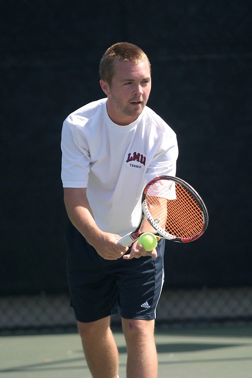 SAN DIEGO, CA - APRIL 19:  Johan Berhof of the LMU Lions during day three of the West Coast Conference Tennis Championships on April 19, 2009 at the Barnes Tennis Center in San Diego, California.