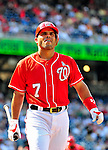 20 June 2010: Washington Nationals' catcher Ivan Rodriguez in action against the Chicago White Sox at Nationals Park in Washington, DC. The Nationals were swept by the White Sox falling 6-3 in the last game of their 3-game interleague series. Mandatory Credit: Ed Wolfstein Photo
