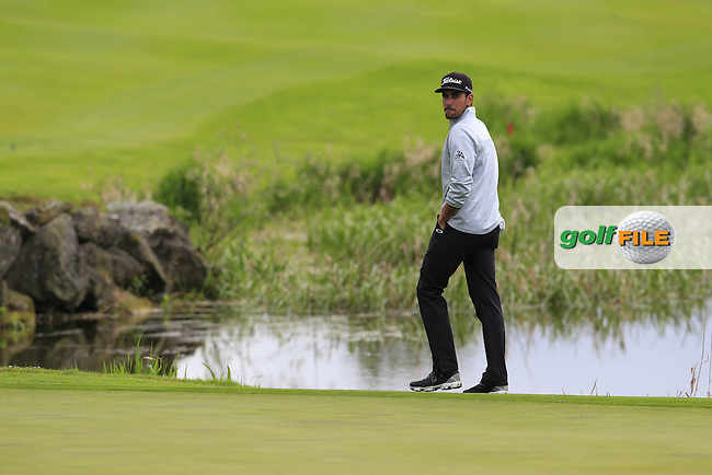 Rafa Cabrera-Bello (ESP) on the 18th green during Saturday's Round 3 of the 2016 Dubai Duty Free Irish Open hosted by Rory Foundation held at the K Club, Straffan, Co.Kildare, Ireland. 21st May 2016.<br /> Picture: Eoin Clarke | Golffile<br /> <br /> <br /> All photos usage must carry mandatory copyright credit (&copy; Golffile | Eoin Clarke)